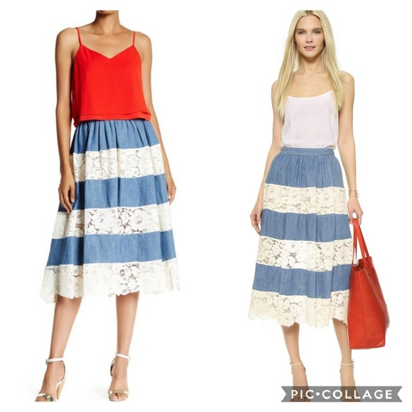 53c6a5ffe3 Alice + Olivia Skirts | Alice Olivia Romy Lace Denim Maxi Skirt D0 ...
